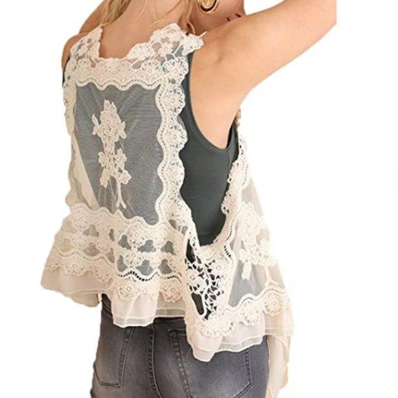 NWT Umgee Cream Lace Crochet Vest